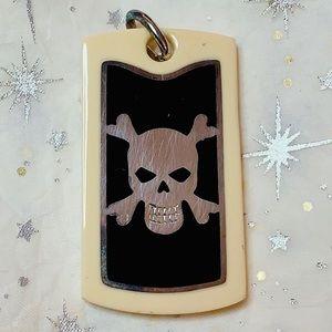 Designo black/ivory 925 Silver Skull Dog Tag